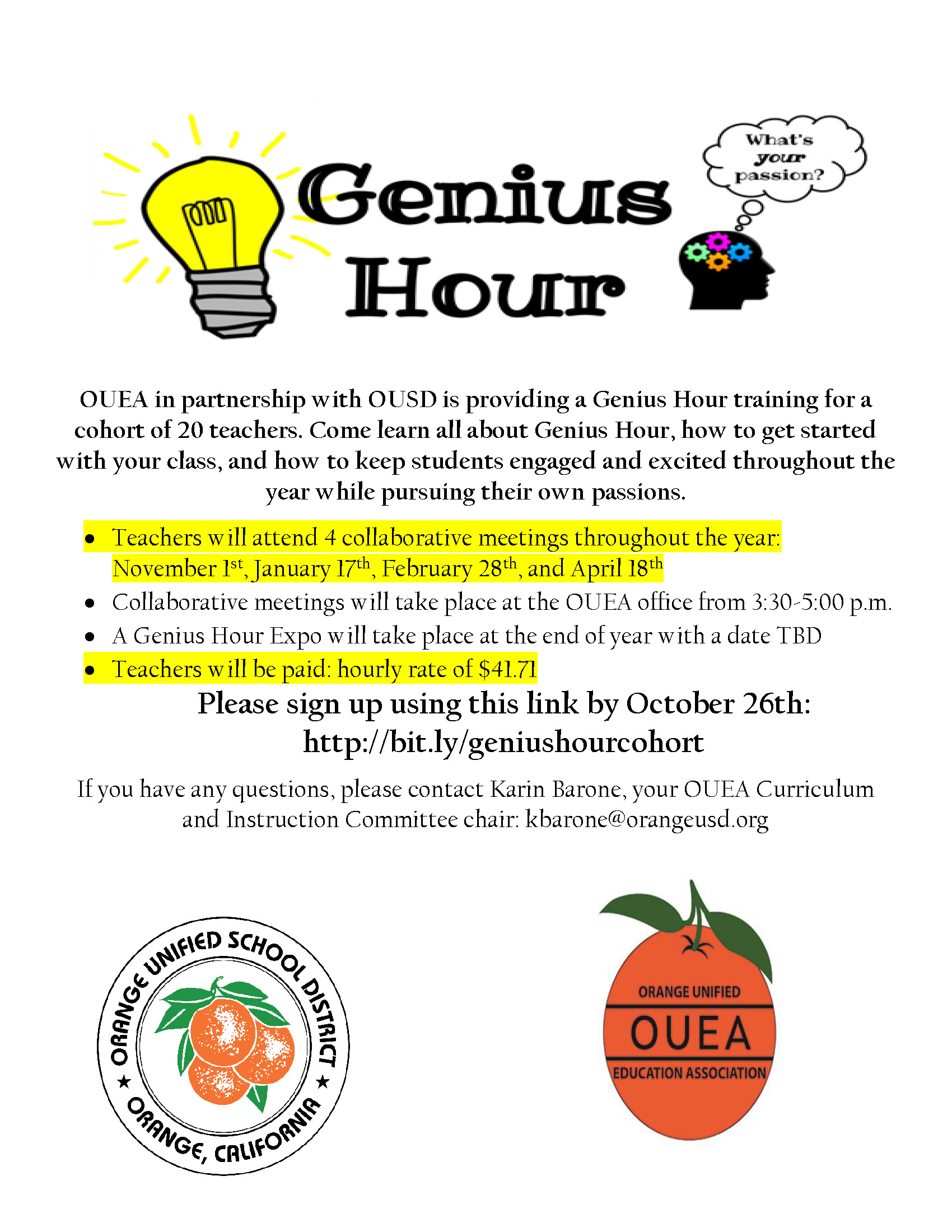 Genius Hour flyer